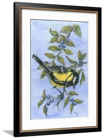 Tit in Blackthorn and Sloe-Nell Hill-Framed Art Print