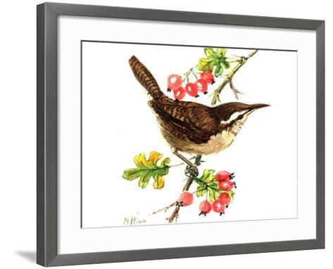 Wren and Rosehips-Nell Hill-Framed Art Print