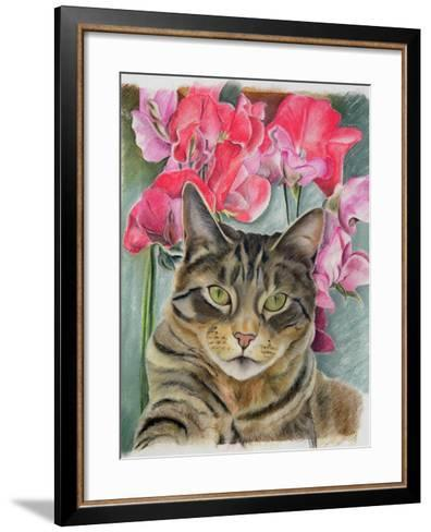 Cat with Sweet Peas-Anne Robinson-Framed Art Print