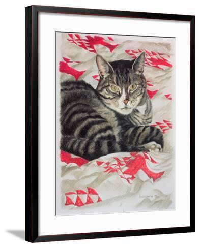 Cat on Quilt-Anne Robinson-Framed Art Print