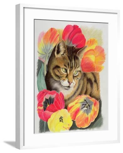 Stripy and Tulip-Anne Robinson-Framed Art Print
