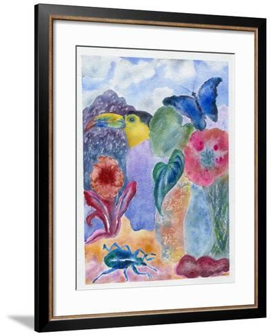 Toucan with Blue Beetle, 2010-Louise Belanger-Framed Art Print