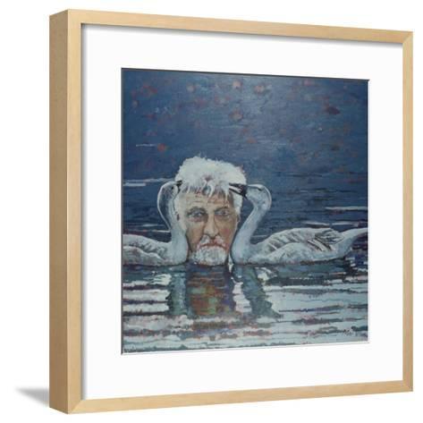 Conrad Lorenz with Goslings, 2000-Peter Wilson-Framed Art Print