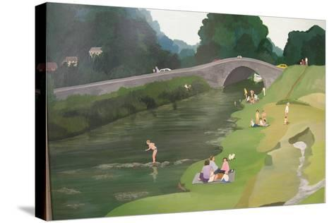 Riverside Picnic, 1989-Maggie Rowe-Stretched Canvas Print
