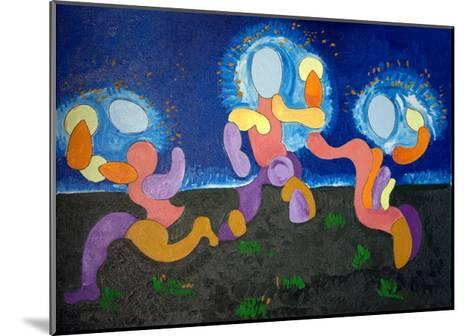 In the Warm Nights of June,The Troglodytes Celebrate Fire, 2009-Jan Groneberg-Mounted Giclee Print