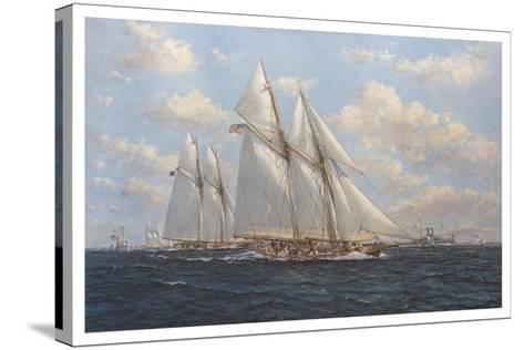 The America's Cup 1871 'Columbia Leading Livonia'-John Sutton-Stretched Canvas Print