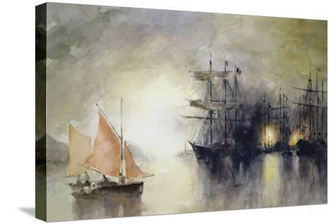 Boats-John Lidzey-Stretched Canvas Print
