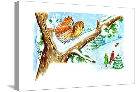 December Owls - Jack & Jill-Patricia Lynn-Stretched Canvas Print