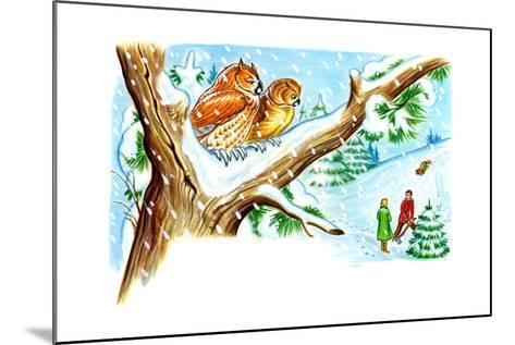 December Owls - Jack & Jill-Patricia Lynn-Mounted Giclee Print