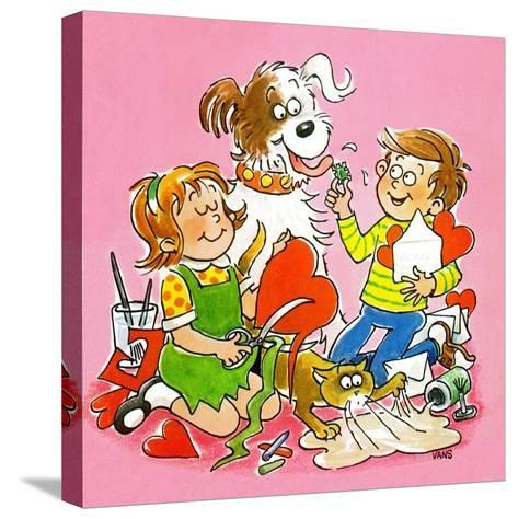 The Red and White Box - Jack & Jill-Jackie Lacy-Stretched Canvas Print