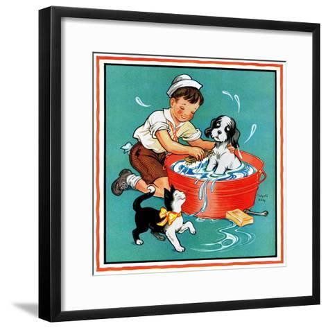 Time for a Bath - Child Life-Clarence Biers-Framed Art Print