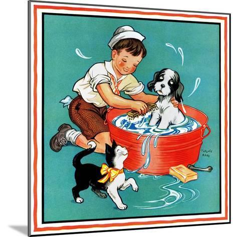 Time for a Bath - Child Life-Clarence Biers-Mounted Giclee Print