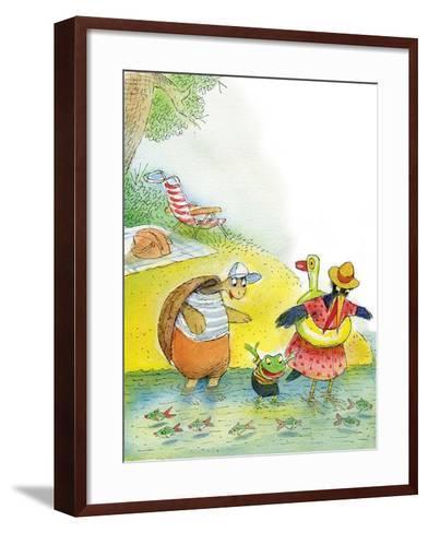 Ted, Ed and Caroll the Tiny Fish - Turtle-Valeri Gorbachev-Framed Art Print