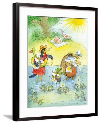 Ted, Ed and Caroll and the Tiny Fish 4 - Turtle-Valeri Gorbachev-Framed Art Print