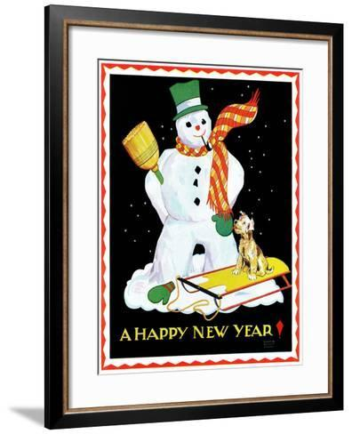 Snowman and Dog - Child Life-Eleanor Mussey Young-Framed Art Print