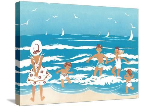 Playing in the Surf - Jack & Jill-Ann Eshner-Stretched Canvas Print