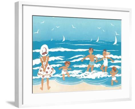 Playing in the Surf - Jack & Jill-Ann Eshner-Framed Art Print
