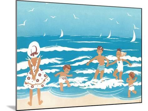 Playing in the Surf - Jack & Jill-Ann Eshner-Mounted Giclee Print