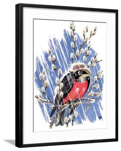 Wet Robin - Child Life-Keith Ward-Framed Art Print