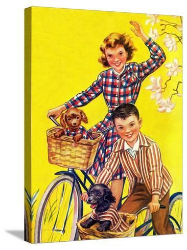 Spring Bike Ride - Child Life-Katherine Wireman-Stretched Canvas Print