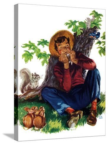 Boy Playing Harmonica - Child Life-Keith Ward-Stretched Canvas Print