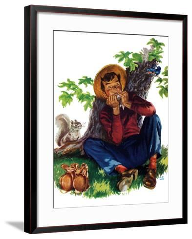 Boy Playing Harmonica - Child Life-Keith Ward-Framed Art Print