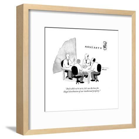 """""""And while we're at it, let's sue the bees for illegal distribution of ?"""" - Cartoon-Emily Flake-Framed Art Print"""