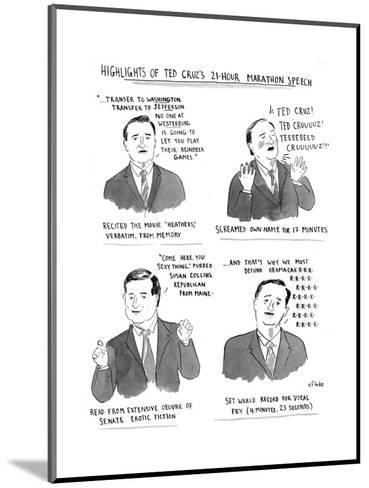 Highlights of Ted Cruz's 21-hour Marathon Speech - Cartoon-Emily Flake-Mounted Premium Giclee Print