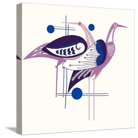 Deco Cranes--Stretched Canvas Print