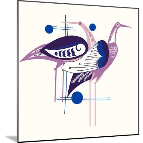Deco Cranes--Mounted Giclee Print