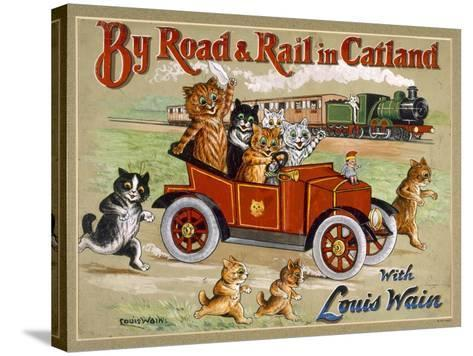 By Road and Rail in Catland, 20Th-Louis Wain-Stretched Canvas Print