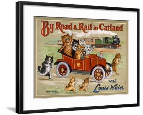 By Road and Rail in Catland, 20Th-Louis Wain-Framed Art Print