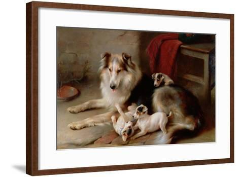 A Collie with Fox Terrier Puppies, 1913-Walter Hunt-Framed Art Print