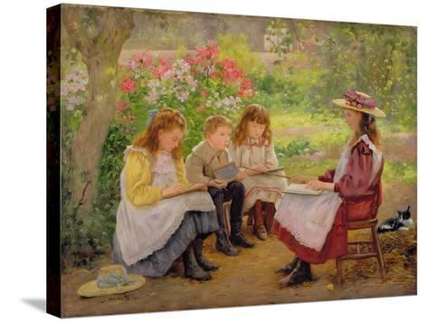 Lesson in the Garden, 1900-Ada Shirley-Fox-Stretched Canvas Print