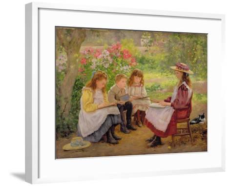 Lesson in the Garden, 1900-Ada Shirley-Fox-Framed Art Print