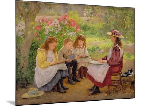 Lesson in the Garden, 1900-Ada Shirley-Fox-Mounted Giclee Print