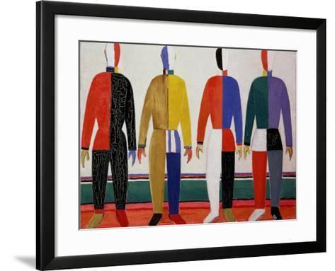 Sportsmen, or Suprematism in Sportsmen's Contours, 1928-32-Kasimir Malevich-Framed Art Print