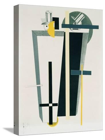 Abstract Composition in Grey, Yellow and Black-El Lissitzky-Stretched Canvas Print