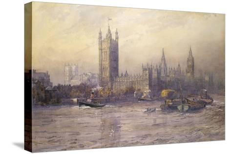 The Houses of Parliament, Watercolour-Maude Parker-Stretched Canvas Print