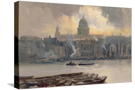 St.Paul's from the River-George Hyde Pownall-Stretched Canvas Print