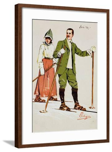 Two Skiers, 1909-Carlo Pellegrini-Framed Art Print