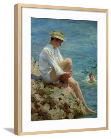 Boys Bathing, 1908-Henry Scott Tuke-Framed Art Print