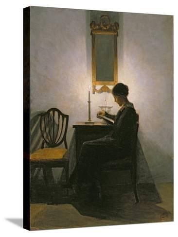 Woman Reading by Candlelight, 1908-Peter Vilhelm Ilsted-Stretched Canvas Print