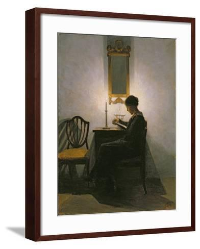 Woman Reading by Candlelight, 1908-Peter Vilhelm Ilsted-Framed Art Print