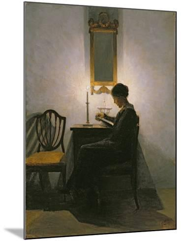 Woman Reading by Candlelight, 1908-Peter Vilhelm Ilsted-Mounted Giclee Print
