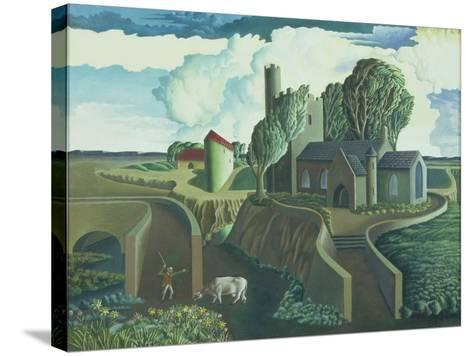 A Hilltop Church, 1930s-George Wright-Stretched Canvas Print