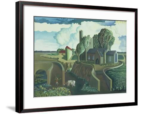 A Hilltop Church, 1930s-George Wright-Framed Art Print