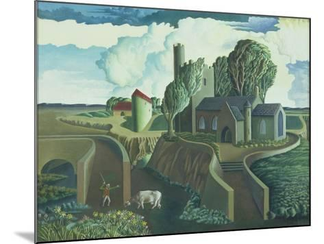 A Hilltop Church, 1930s-George Wright-Mounted Giclee Print