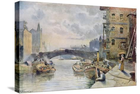 Leeds Bridge from Aire and Calder Navigation Wharf, 1911-Arthur Netherwood-Stretched Canvas Print