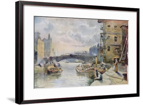 Leeds Bridge from Aire and Calder Navigation Wharf, 1911-Arthur Netherwood-Framed Art Print